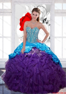 Multi Colored Sweetheart Beading and  Ruffled Layers Quinceanera Gown for 2015 Spring