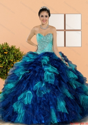 Multi Colored Sweetheart Beading and Ruffles Quinceanera Dresses in Multi Color