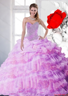 2015 New Style Lilac Quinceanera Gown with Beading and Ruffled Layers