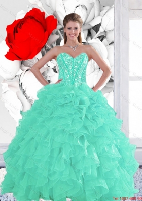 2015 Summer Perfect Appple Green Quinceanera Dresses with Beading and Ruffles