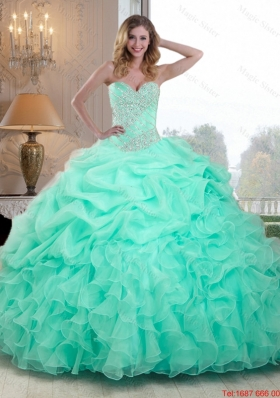 2015 Summer Pretty Beaded and Ruffles Quinceanera Dresses in Apple Green