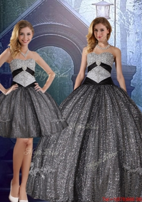 2016 Spring Discount Sweetheart Floor Length Sequined Detachable Quinceanera Dresses with Appliques
