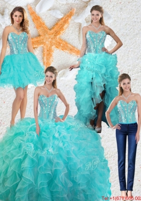 2016 Spring Perfect Aqua Blue Detachable Quinceanera Gowns with Beading and Ruffles