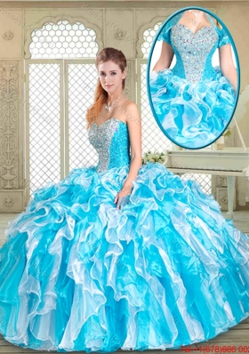 Fashionable Floor Length Sweet 16 Gowns with Beading and Ruffles