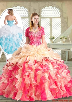 Latest Floor Length Quinceanera Dresses with Beading and Pick Ups for 2016