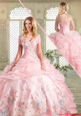 Spring Pretty Floor Length Sweet 16 Dresses with Appliques and Pick Ups