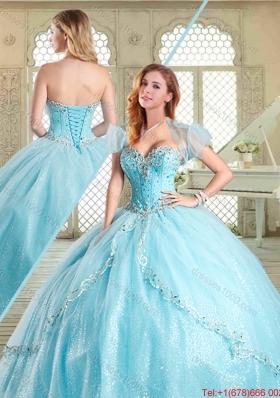 The Super Hot Beading Quinceanera Gowns in Aqua Blue