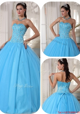 Exclusive Sky Blue Ball Gown Floor Length Quinceanera Dresses