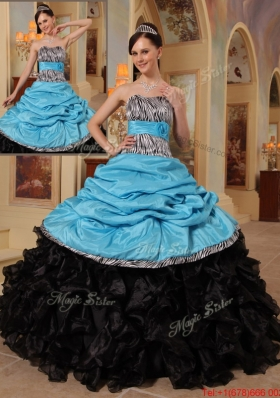 2016 New Style Blue and Black Ball Gown Strapless Quinceanera Dresses
