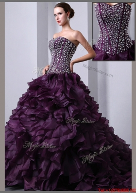 Beautiful A Line Brush Train Beading and Ruffles Quinceanea Dresses