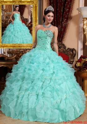 Designer Beading and Ruffles Quinceanera Dresses in Apple Green