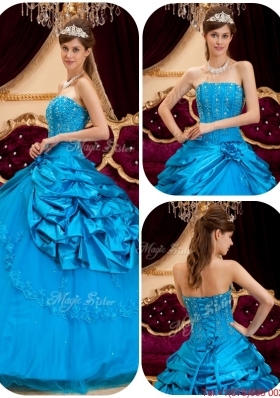 2016 Perfect Teal Quinceanera Gowns with Appliques and Beading