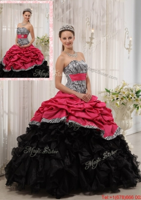Best Selling Ruffles Sweetheart Quinceanera Gowns in Red and Black