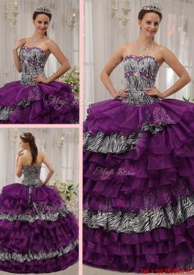 Brand New Sweetheart Beading Sweet Fifteen Dresses in Purple