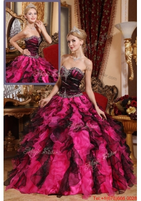 Classical Beading and Ruffles Quinceanera Gowns in Black and Red1