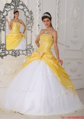 Modest Hand Made Flower Quinceanera Dresses in Yellow and White