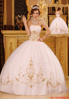 New Style White Ball Gown Strapless Floor Length Quinceanera Dresses