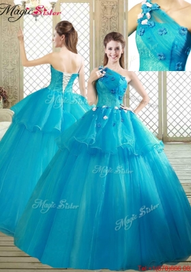 2016 Popular One Shoulder Quinceanera Dresses with Ruffles and Appliques