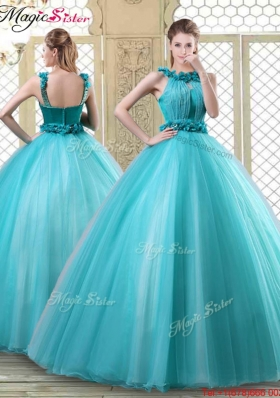 Pretty Bateau Quinceanera Discount Dresses with Ruffles in Teal
