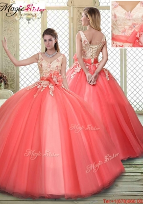 Spring Straps Discount Quinceanera Dresses with Appliques and Hand Made Flowers