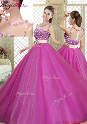 Discount Quinceanera Dresses with Belt and Appliques