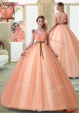 Hot Sale V Neck Discount Quinceanera Dresses with Appliques and Beading