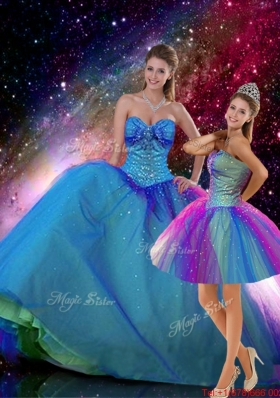 2016 Spring Romantic Ball Gown Sweetheart Beaded Detachable Quinceanera Dresses in Multi Color