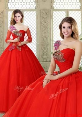Hot Sale Appliques and Beading Sweet 16 Dresses with One Shoulder
