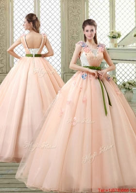 New Style Straps Quinceanera Dresses with Appliques and Belt