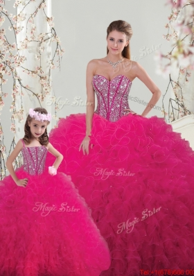 2015 Winter Classical Ball Gown Beaded and Ruffles Macthing Sister Dresses in Hot Pink