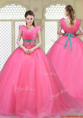 Fashionable Brush Train Quinceanera Dresses in Hot Pink