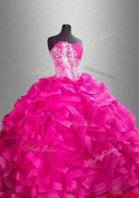 Beaded and Ruffles Discount Sweet 16 Gowns with Sweetheart