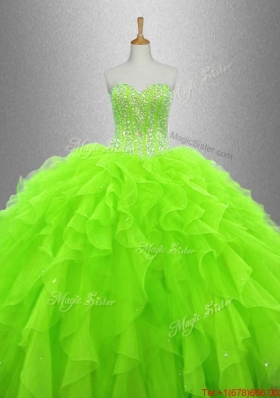 Cheap Beaded and Ruffles Quinceanera Gowns in Organza