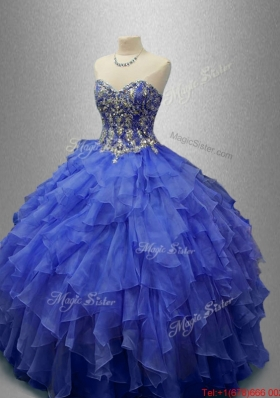 Classical Beaded Blue Quinceanera Gowns with Ruffles