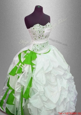 Discount Ball Gown Beaded Sweet 16 Gowns with Pick Ups