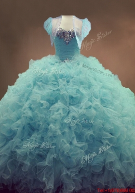 Discount Beaded and Ruffles Quinceanera Gowns in Light Blue