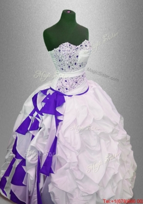 Fashionable Beaded and Pick Ups Quinceanera Gowns in Multi Color