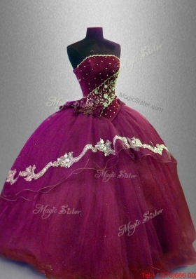 Fashionable Strapless Sweet 16 Dresses with Appliques