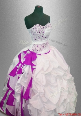Latest Ball Gown Beaded Quinceanera Dresses in White and Fuchsia