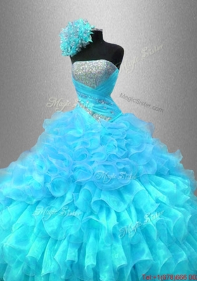 Popular Strapless Sequined Sweet 16 Gowns with Ruffles