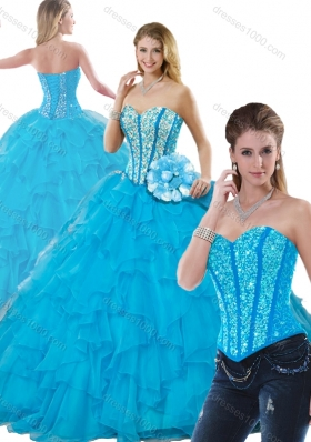 Beautiful Beading Detachable Quinceanera Dresses in Aqua Blue