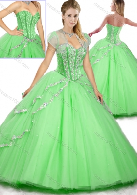 Fashionable Floor Length Beading Sweet 16 Dresses for 2016 Spring