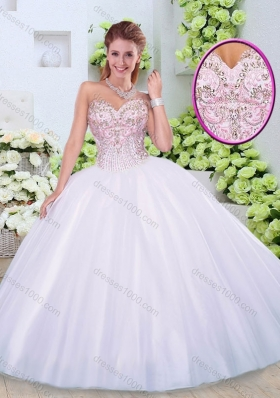Luxurious Sweetheart Beading Quinceanera Dresses in White
