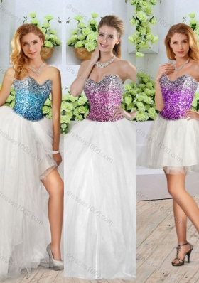 Beautiful White Detachable Quinceanera Dresses with Sequins and High Slit