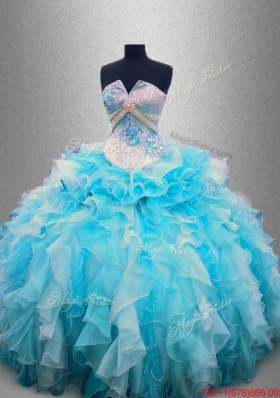 Beautiful Strapless Beading and Ruffles Quinceanera Gowns in Organza