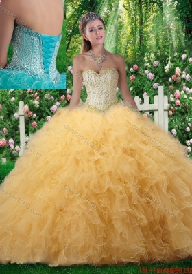2016 Beautiful Ball Gown Sweetheart Quinceanera Dresses with Beading in Champagne