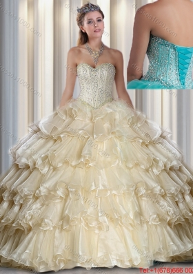 2016 Elegant Sweetheart Beading and Ruffled Layers Quinceanera Dresses