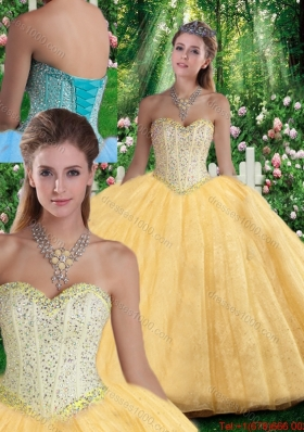 2016 Simple Ball Gown Sweetheart Beading Quinceanera Gowns for Fall