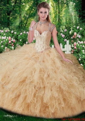Elegant Straps Beading Sweet 16 Gowns in Champange