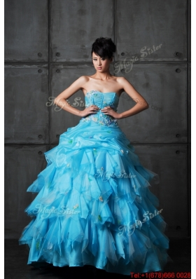 Great Perfect Ball Gown Appliques and Ruffles Wedding Gowns in Aqua Blue